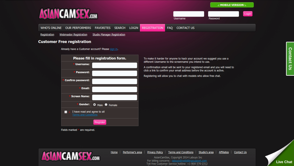 Asiancamsex Registration Form