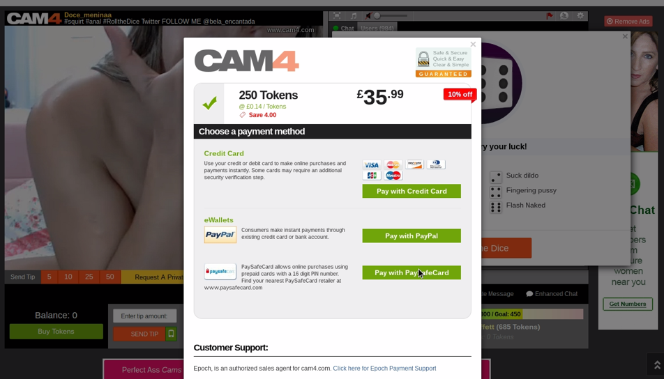 Cam4 Payment