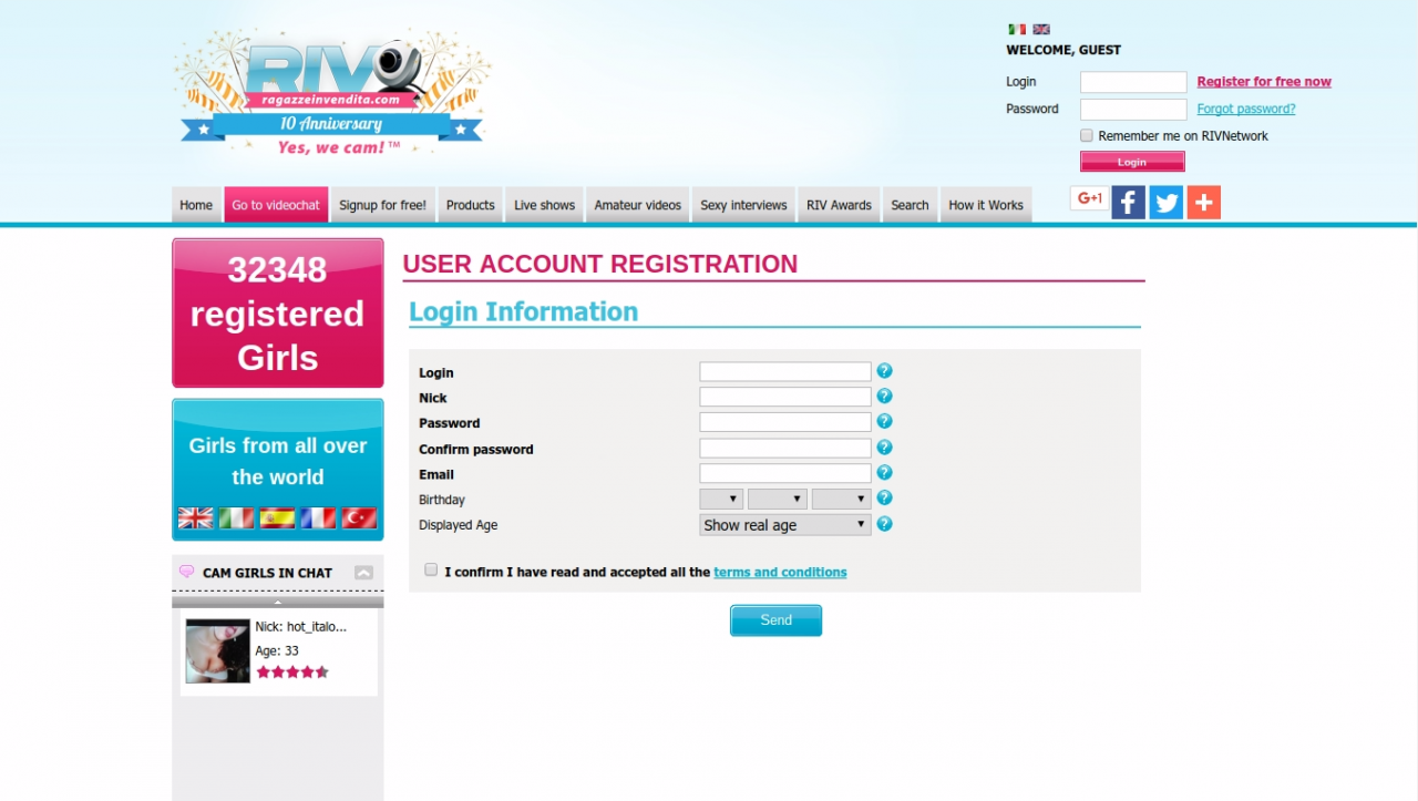 RagazzeInVendita User Registration